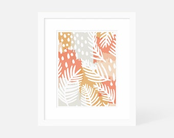 Colorful Abstract Wall Art / Modern Boho Wall Art / Palm Leaf Art Print / Matted and Framed / 18x24 16x20 11x14 8x10 5x7