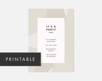 Simple Printable Invite / Minimalist Modern Printable Invitation / Color Block / Neutral Taupe / Adult Birthday Party, Graduation Party