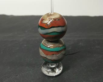 Lampwork Organic bead pair. Handmade SRA