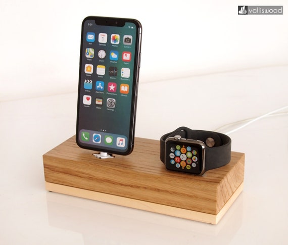 info for 8b245 727a2 Apple Watch and iPhone dock, iPhone 6 / 7 / 8 dock, iPhone X / Xr / Xs / Xs  Max dock, gift for him / her, nightstand dock, handcrafted