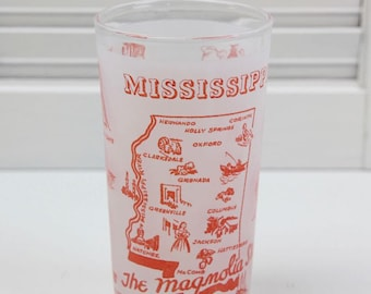 Mississippi State Glass Frosted Souvenir Glass Magnolia State Mid Century Travel Memorabilia #88