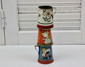 Vintage Tin Toy Pitchers Tin Litho Pitchers Children 39 s Toys Tea Party Fern Bisel Peat Instant Collection Set of 3 Chippy Tin Pitchers 90