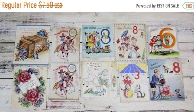 ON SALE 10 Childrens Birthday Cards Vintage 1940s 1950s Retro Happy Boy Ephemera Card Repurpose
