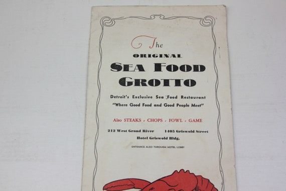 The Original Sea Food Grotto Restaurant Menu Hotel Griswold Detroit  Michigan 1930's #79