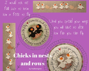CHICKS in nest and rows, 8 Cute and Delicate Machine Embroidery designs with little birds - in nests with quotes and in rows as borders