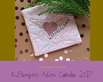 DESIGNS from fruBlomgren's Advent Calendar. Machine Embroidery Design. Little Heart Quilt Blocks with different style hearts. 5 designs