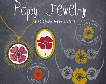 POPPY JEWELRY - Embroidered Necklaces with poppies in medallions and chains - 8 beautiful designs for garment embellishment