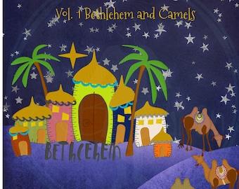Krippe von FruBlomgren, Vol. 1 von 5, Bethlehem und Kamele, 9 ein Unikat handgezeichneten Applikation Entwürfe, Maschinenstickerei, weitere Größen
