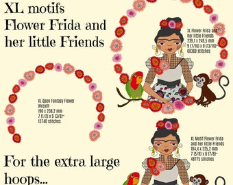 """XLarge Beautiful FLOWER FRIDA and her Little Friends for the Extra big hoops 20 x 28 cm (8 x 8"""") and 24 x 36 cm, very detailed designs"""