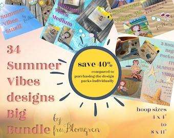 BIG BUNDLE - 34 Summer Vibes Machine Embroidery designs - SAVE 40% compared to purchasing the design packs individually - Just Chill