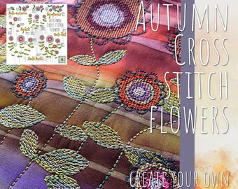 BIG BUNDLE of Autumn Cross stitch Flowers, Texts and motifs to mix and match - 23 hand drawn, easy going elements included - various sizes
