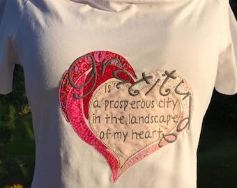 Dankbarkeit ist eine blühende Stadt in der Landschaft der mein Herz - t-shirt-Design - Applikation Maschinenstickerei - insgesamt 4 Designs in 2 Größen