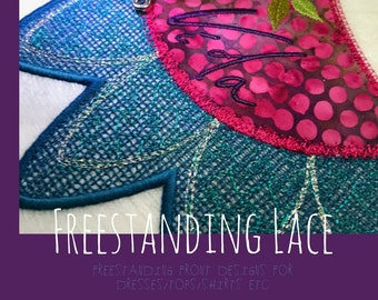 Freestanding Lace Neckline Designs for dresses, tops etc. - Embellish your garments with one of these 4 beautiful freestanding designs