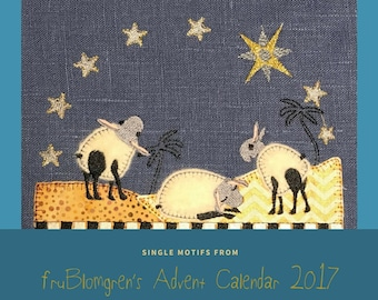 EINZELNE DESIGN aus FruBlomgren Adventskalender. Maschinenstickerei. DIY. Schäfchen wacht des Sterns über Bethlehem, 2 Größen