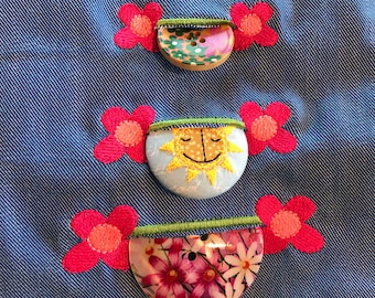 3 Cute and Fun Flower Buttonholes, 3 cm, 4 cm and 5 cm - easy to stitch and more fun than traditional buttonholes