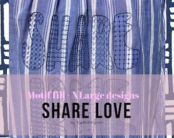 3 XLarge Machine Embroidery Designs: Delicate Motif filled texts in a Hippie font - split or gathered