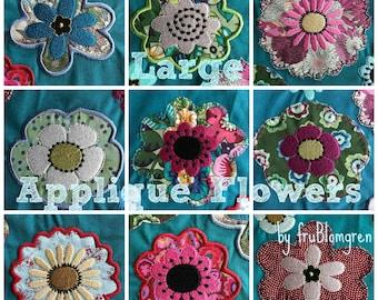 """GROßE WUNDERLICHE Applikation Blumen für Verschönerung Ihrer Textil-Projekte, 10 verschiedene Maschine Stickerei Designs für den 4 x 4"""" Reifen,"""