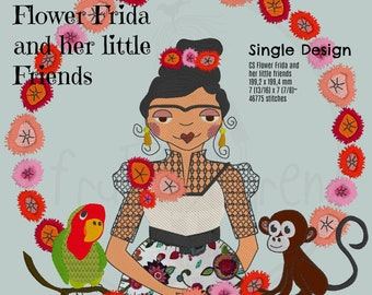 """Beautiful FLOWER FRIDA and her Little Friends - Monkey and Parrot, Single design, 20 x 20 cm (8 x 8"""") motif, very detailed Embroidery Design"""
