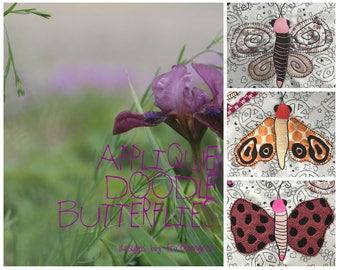 Applikation DOODLEFLIES - wunderlich, anpassbare Applikation Doodle Schmetterlinge, 3 Motive in 3 Größen - insgesamt 9 Maschinenstickmotive