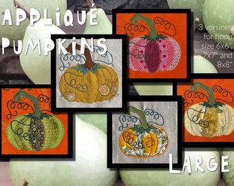 9 Larger Appliqué Pumpkin designs and a couple of Appliqué Flowers - Cute and versatile Autumn/Fall/Halloween designs, 3 versions - 3 sizes
