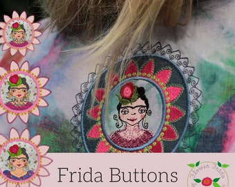 Flower Frida 'BUTTON' designs - not Buttons, but smaller round designs suitable for bags, accessories etc., 3 'Buttons' and a logo