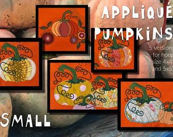 8 Smaller Appliqué Pumpkin designs and a couple of Appliqué Flowers - Cute and versatile Autumn/Fall/Halloween designs, 5 versions - 2 sizes