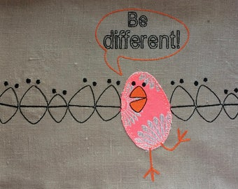 BE DIFFERENT - HAPPY - Funky Machine Embroidery Design - 2 different designs each in 2 sizes - instant download