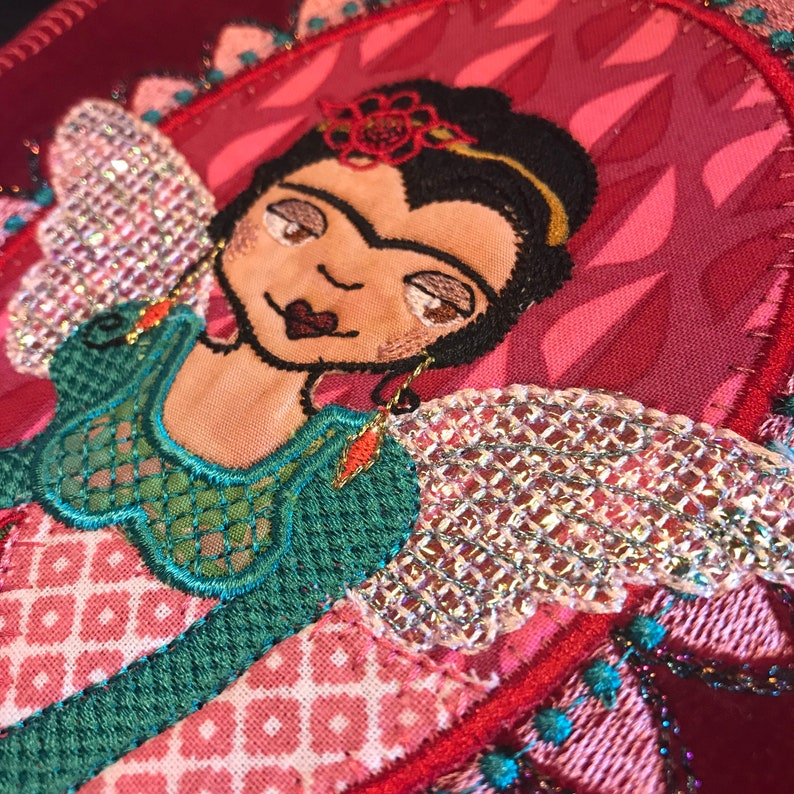 Small Oval Framed FRIDA ROSE 2 designs incl 5 x 7 very detailed appliqu\u00e9 design for multiple textile projects Button Frame Frida Rose