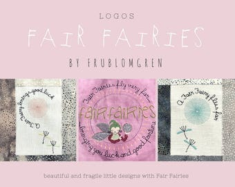FAIR FAIRY logos and text designs - circular machine embroidery designs with FAIRIES, dandelions and flying seeds - embroider with fantasy