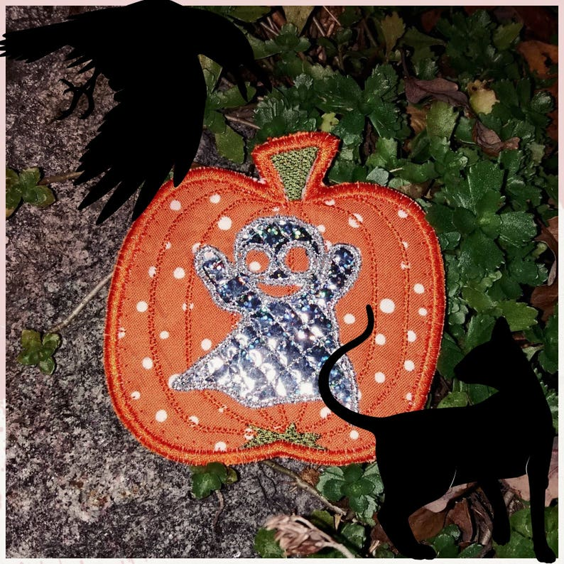 HALLOWEEN PUMPKINS In the Hoop Designs 2 MugRugs and 8 Coasters 12 Scary and whimsical ITH Machine Embroidery Designs for 2 Placemats