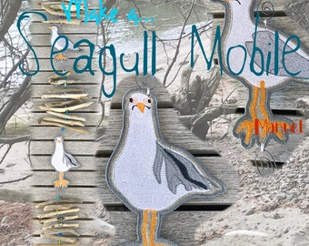FS SEAGULLS for making a Summer Mobile with Drift wood, 2 different FS Machine Embroidery Designs of Whimsical seagulls, freestanding emb.