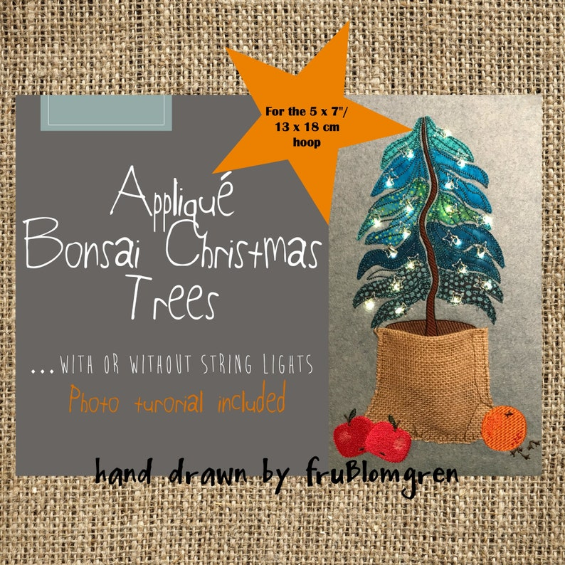 5 x 7 Appliqué BONSAI CHRISTMAS TREE with or with out string image 0