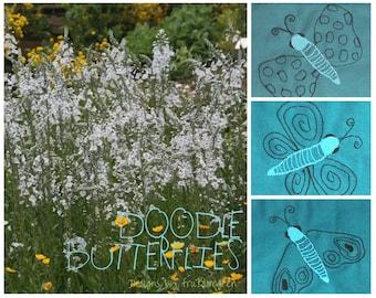 Wunderliche DOODLEFLIES, drei zerbrechlich Doodle Schmetterling Maschine Stickerei Designs für Ihre Sommer-Textil-Projekte, für die 4 x 4 Reifen