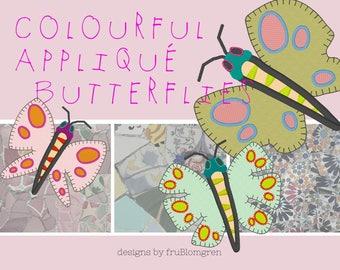 BUNTE Applikationen Schmetterlinge, 3 verschiedene Designs in jeder 3 Größen passen die 4 x 4 und 5 x 7 Reifen, vielseitige Maschinenstickmotive