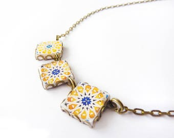 Geometrical Mediterranean / Arabic  tile necklace .Yellow, blue, white