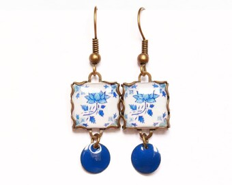 Floral tile Earrings with vintage drawings. Lotus flower, Blue & white  Herbal earrings. Arabesque.