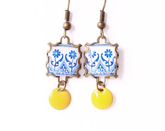 Floral tile Earrings with vintage drawings. Blue , white  & yellow Herbal earrings. Arabesque.