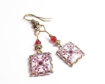 Floral print earrings Botanical tile earrings with vintage style drawings. Red wine & white  Herbal earrings.