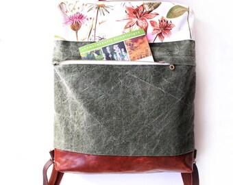 Mochila convertible en bolso Mochila convertible, bolso convertible, tote bag, estampado de flores, mochila bohemia, mochila romantca,