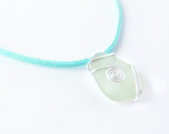 Eco-friendly seaglass  pendant. Turquoise, silver, and white. Christmas gift