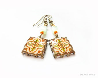 Floral tile Earrings with vintage drawings. ERIKA - BARCELONA