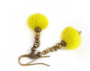 Felted Dangle Earring - Lemon vintage