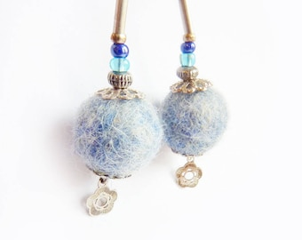 Icy blue Felted earrings with a tiny flower.  100% wool Fearrings with flowers