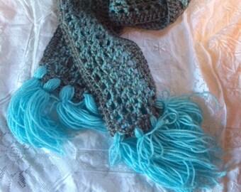 Icy Crochet Long Scarf Blue Gray