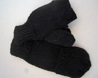 Adult Black Fingerless Mitts