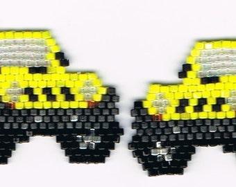 Hand Beaded Yellow Jeep earrings