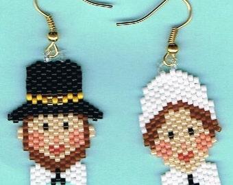 Hand Beaded Pilgrims earrings