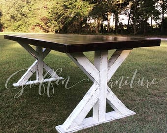 Cross base table dining set - chairs- bench- kitchen table- dining table - dining set - farm table - table - table set - dining room
