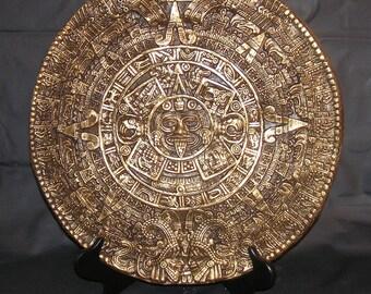 Aztec Calendar  Rich Gold & Dark Brown 17 inch Diameter