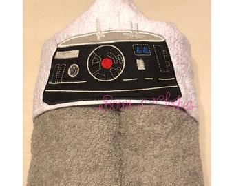 Black Space Robot Towel In the hoop design digital instant download